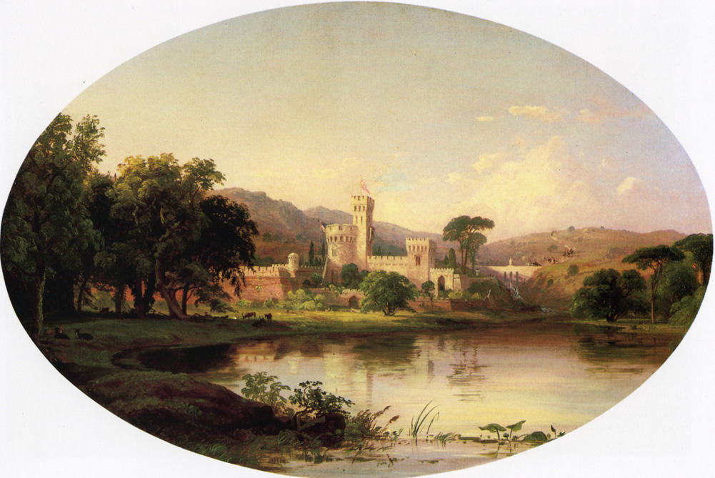 Castle by a Lake, Oil On Canvas by Jasper Francis Cropsey (1823-1900, United States)
