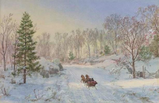 Evening Sleigh Ride, Ravensdale Road, Hastings-on-Hudson, New York by Jasper Francis Cropsey (1823-1900, United States)