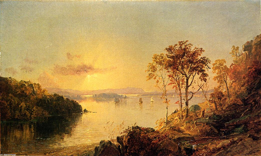 Figures on the Hudson River, Oil On Canvas by Jasper Francis Cropsey (1823-1900, United States)