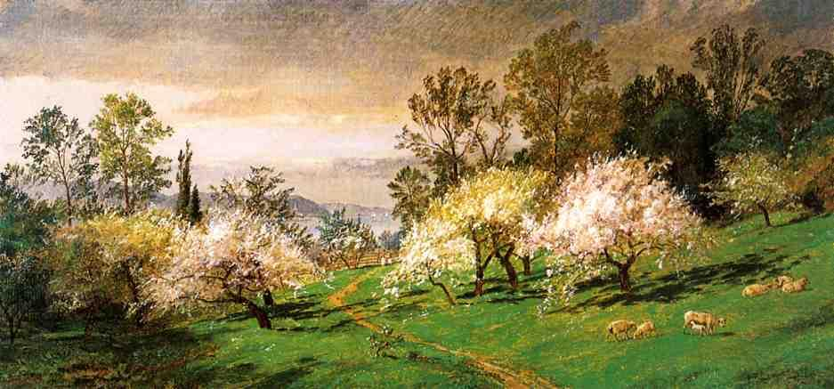 Flowering Trees, Oil On Canvas by Jasper Francis Cropsey (1823-1900, United States)