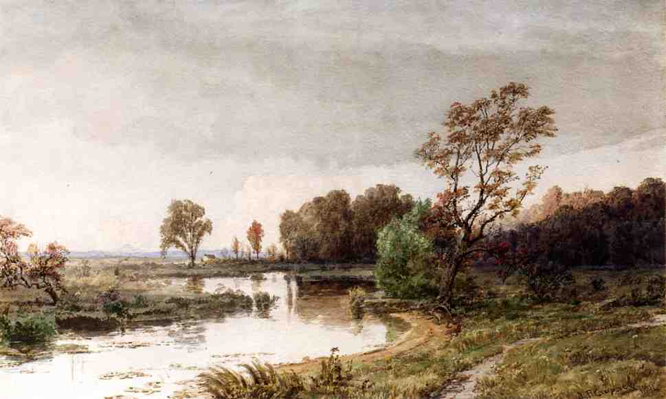 Hackensack Meadows in the Autumn by Jasper Francis Cropsey (1823-1900, United States)