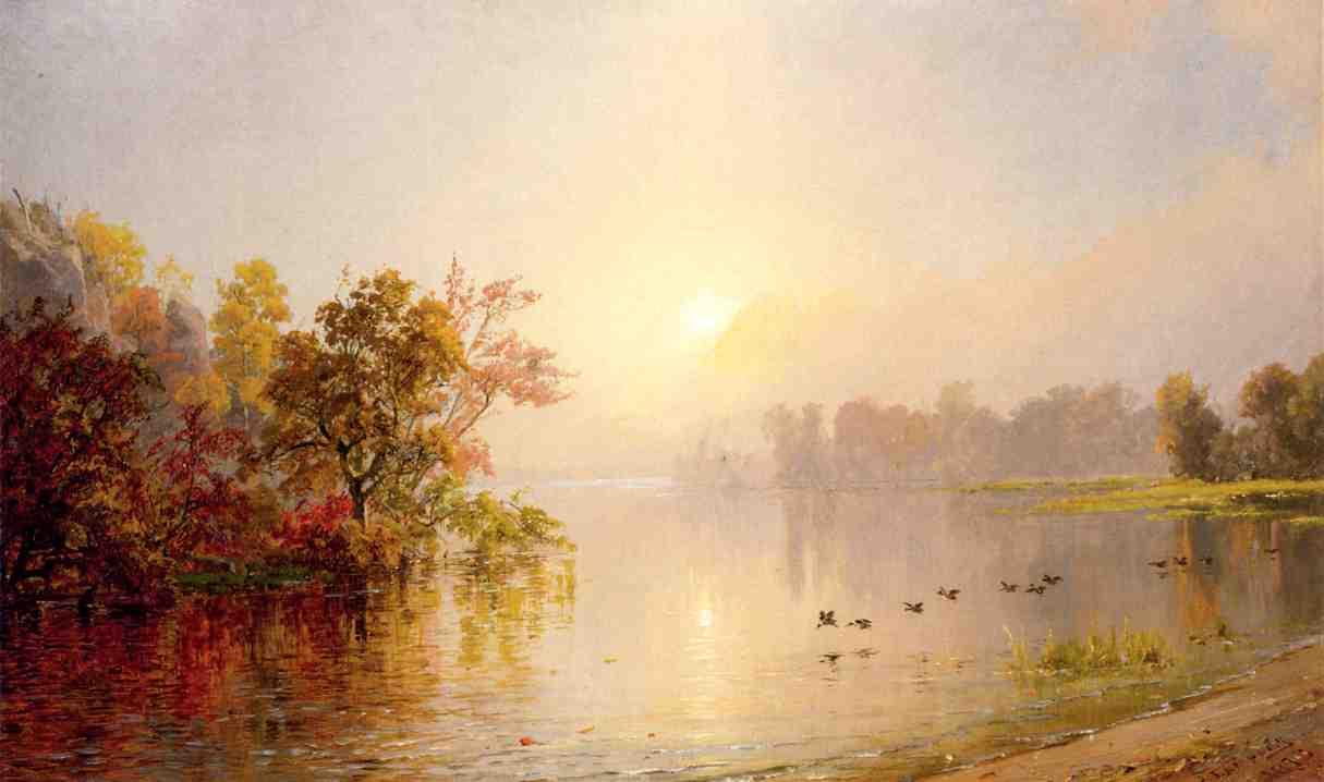 Hazy Afternoon, Autumn by Jasper Francis Cropsey (1823-1900, United States)