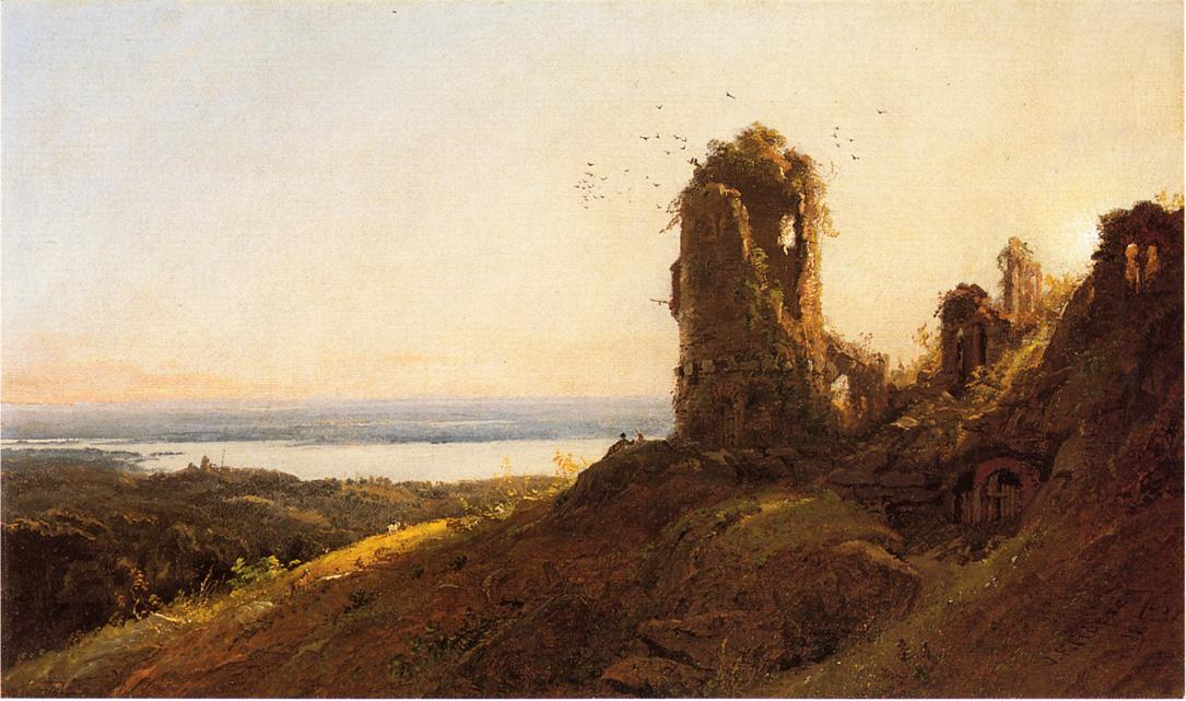 Italian Landscape, Oil On Canvas by Jasper Francis Cropsey (1823-1900, United States)