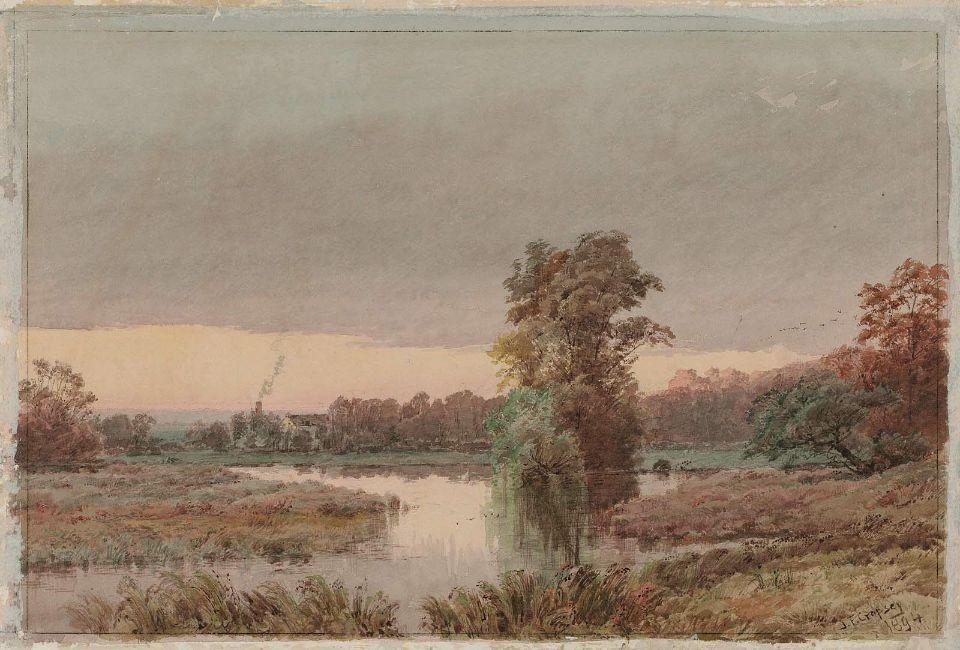 Marshy Land at Twilight by Jasper Francis Cropsey (1823-1900, United States)