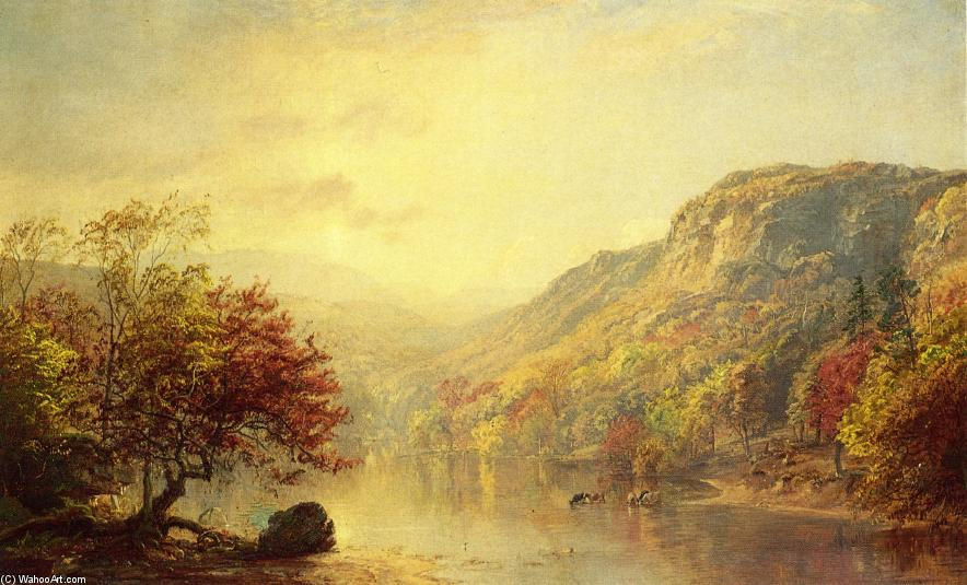 River in Autumn, Oil On Canvas by Jasper Francis Cropsey (1823-1900, United States)