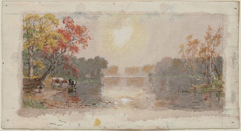 River in Mist by Jasper Francis Cropsey (1823-1900, United States)