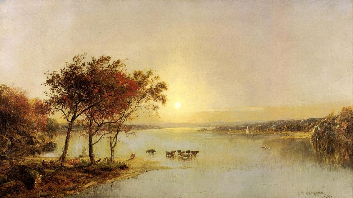 Upper Hudson, Oil On Canvas by Jasper Francis Cropsey (1823-1900, United States)