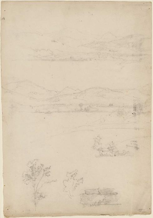 Various Sketches of Mountains, House, Trees by Jasper Francis Cropsey (1823-1900, United States) | ArtsDot.com