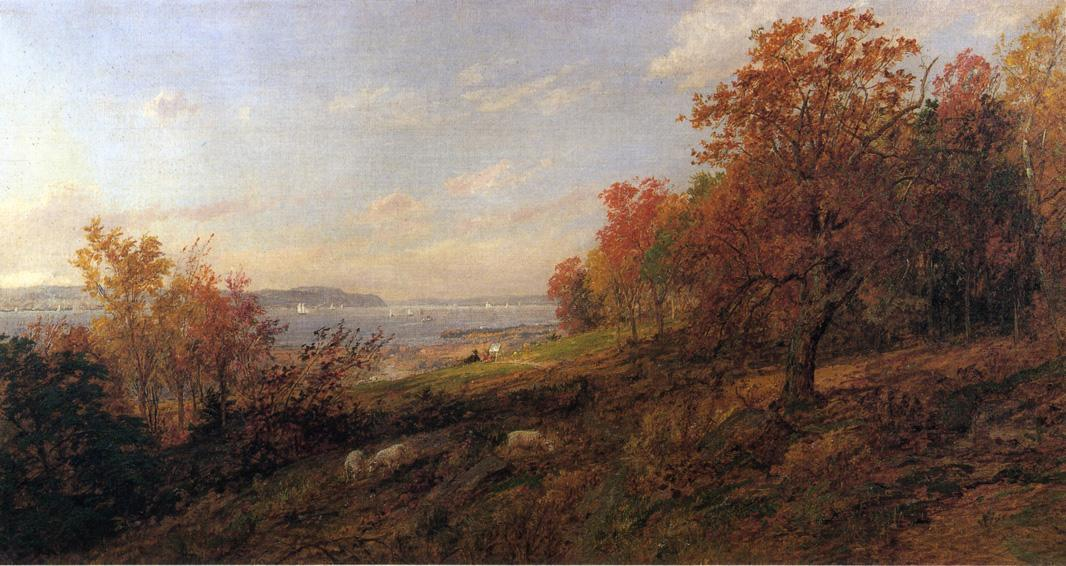 View from Hastings toward the Tappan Zee, 1887 by Jasper Francis Cropsey (1823-1900, United States)