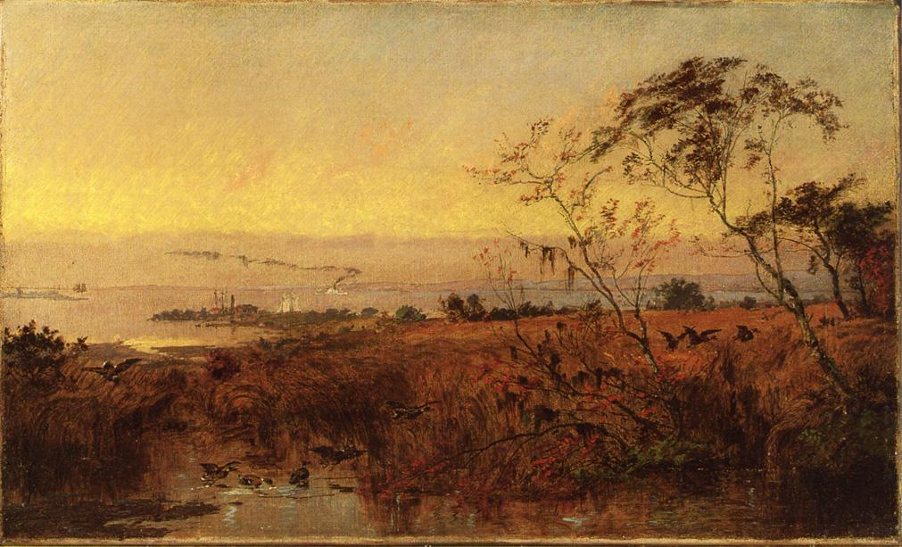 View on the Chesapeake Bay, Oil On Canvas by Jasper Francis Cropsey (1823-1900, United States)