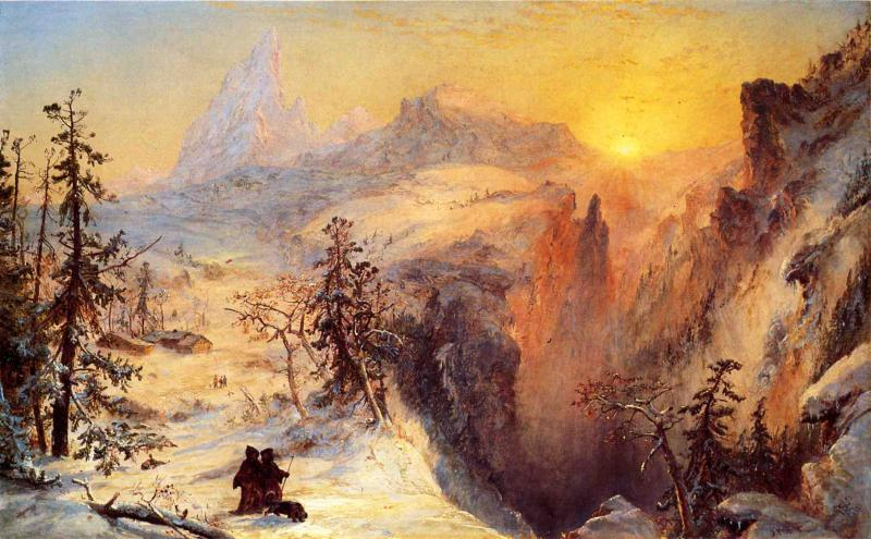 Winter in Switzerland, Oil On Canvas by Jasper Francis Cropsey (1823-1900, United States)