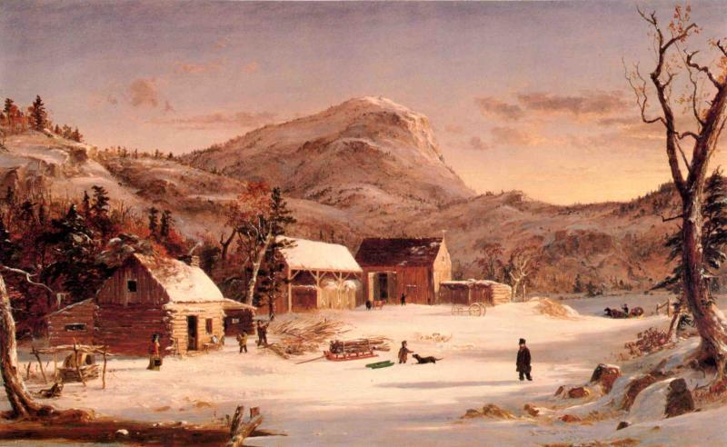 Winter in the Rockies by Jasper Francis Cropsey (1823-1900, United States)