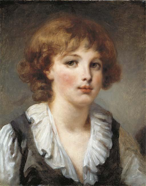 A young boy, bust-length, in a white chemise and black waistcoat by Jean-Baptiste Greuze (1725-1805, France) | Oil Painting | ArtsDot.com
