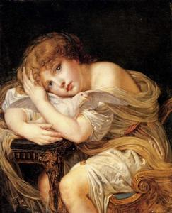 Jean-Baptiste Greuze - A young girl holding a dove