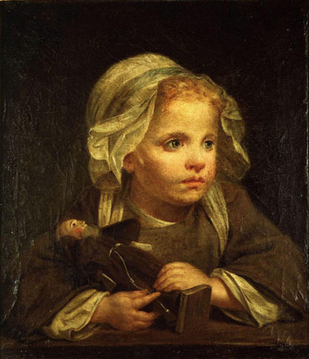 Girl with a capuchin by Jean-Baptiste Greuze (1725-1805, France) | Oil Painting | ArtsDot.com