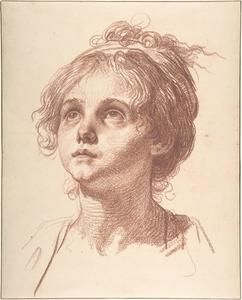 Jean-Baptiste Greuze - Head of a Girl Looking Up
