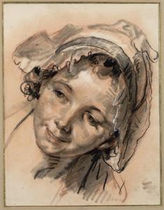 Jean-Baptiste Greuze - Head study of a smiling girl