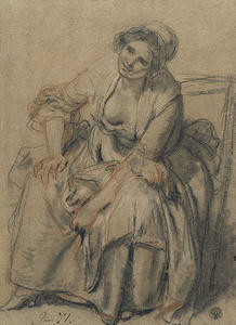 Jean-Baptiste Greuze - Study of Seated Young Woman