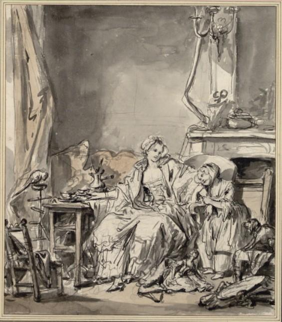 Young mother and daughter having tea by Jean-Baptiste Greuze (1725-1805, France) | ArtsDot.com