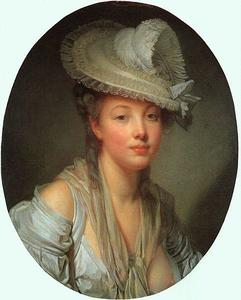 Jean-Baptiste Greuze - Young Woman in a White Hat
