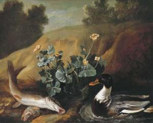 Jean-Baptiste Oudry - A duck with two barbels at the edge of a pond