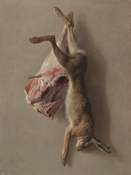 A Hare and a Leg of Lamb by Jean-Baptiste Oudry (1686-1755, France) | Museum Art Reproductions | ArtsDot.com