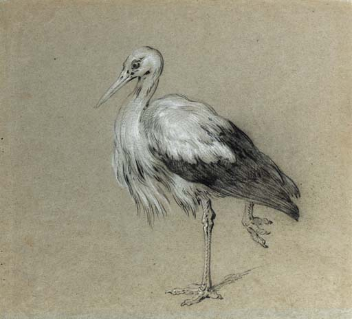 A stork standing on one leg by Jean-Baptiste Oudry (1686-1755, France)
