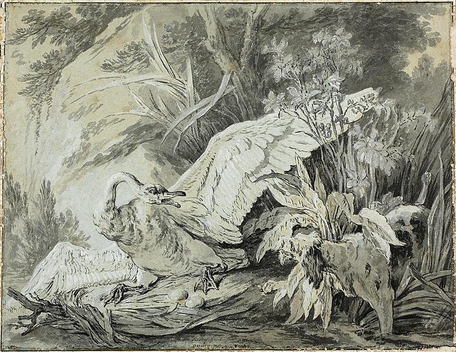 A Wild Swan Attacked by a Dog by Jean-Baptiste Oudry (1686-1755, France)
