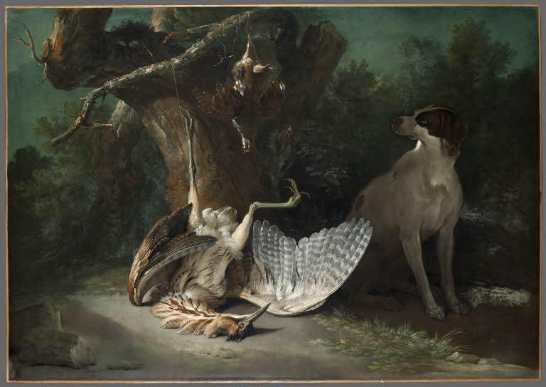 Butor and partridges guarded by a white dog by Jean-Baptiste Oudry (1686-1755, France) | ArtsDot.com