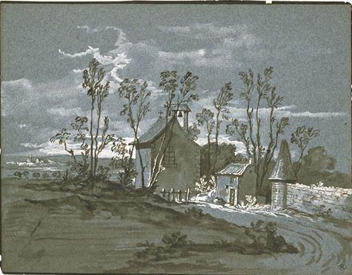 Chapel and houses along a road by Jean-Baptiste Oudry (1686-1755, France)