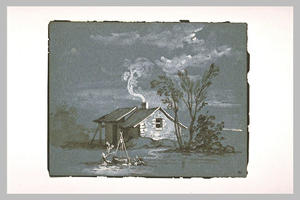 Jean-Baptiste Oudry - Cottage and sinks near a group of trees