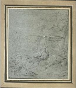 Jean-Baptiste Oudry - Five birds in a landscape