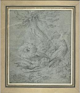 Jean-Baptiste Oudry - Four birds near a tree
