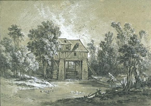 Order Museum Quality Reproductions : Landscape with a mill by Jean-Baptiste Oudry (1686-1755, France) | ArtsDot.com