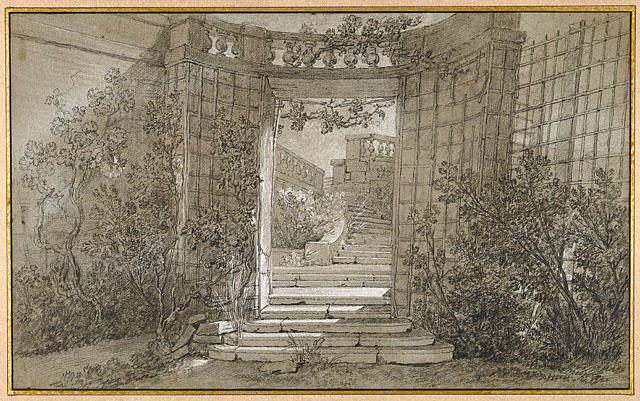 Landscape with a Stairway and Balustrade by Jean-Baptiste Oudry (1686-1755, France)