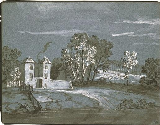 Landscape with houses by Jean-Baptiste Oudry (1686-1755, France) | Museum Quality Reproductions | ArtsDot.com