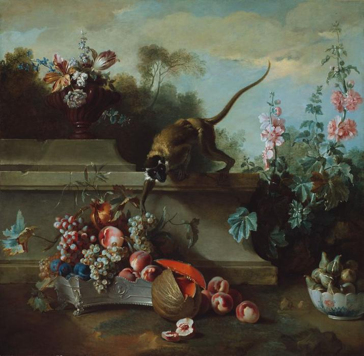Still Life with Monkey, Fruits, and Flowers by Jean-Baptiste Oudry (1686-1755, France) | Painting Copy | ArtsDot.com