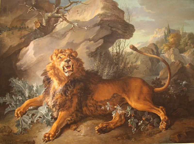 The Lion and the Spider by Jean-Baptiste Oudry (1686-1755, France) | Oil Painting | ArtsDot.com