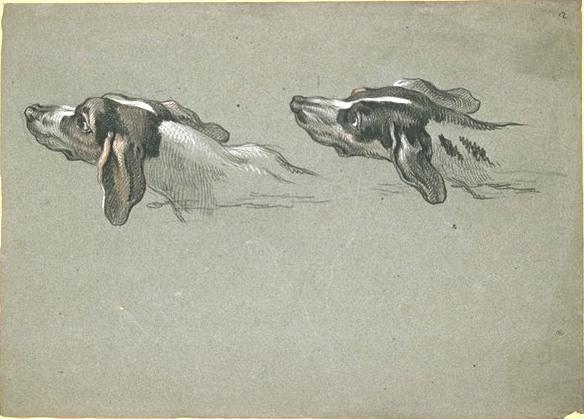 Two heads of greyhounds, turned to the left by Jean-Baptiste Oudry (1686-1755, France) | Museum Art Reproductions | ArtsDot.com