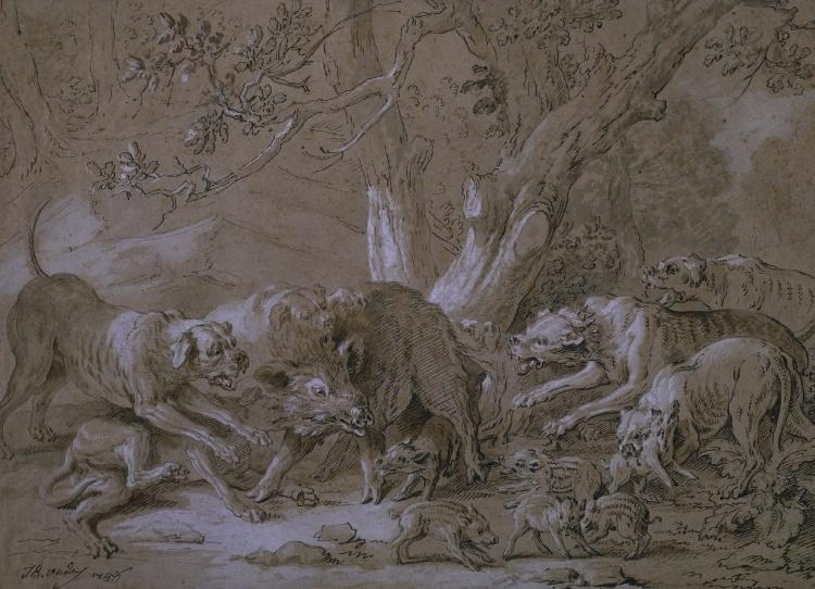 Wild Sow and Her Young Attacked by Dogs by Jean-Baptiste Oudry (1686-1755, France)