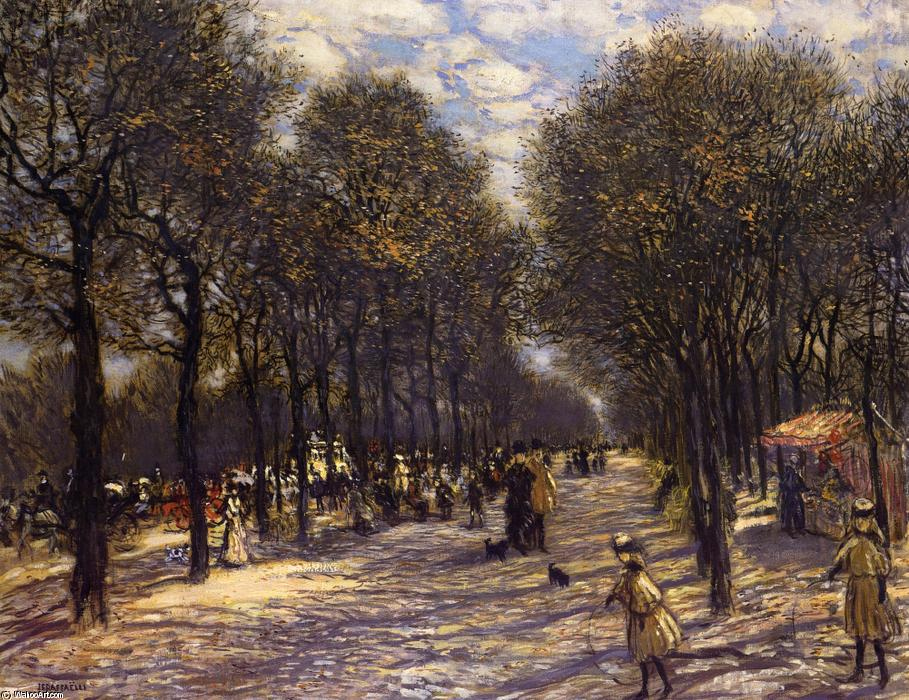 Lane of Trees on the Champs-Elysees, 1893 by Jean-François Raffaelli (1850-1924, France) | Painting Copy | ArtsDot.com