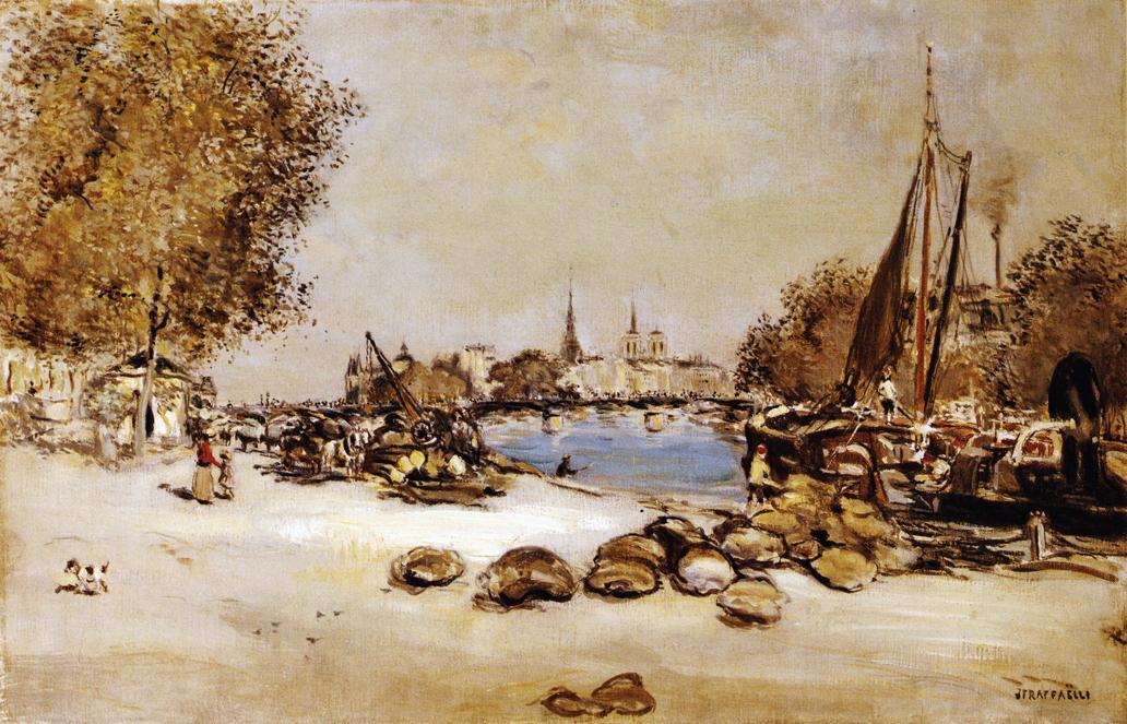Port Saint-Nicolas, 1910 by Jean-François Raffaelli (1850-1924, France) | Museum Art Reproductions | ArtsDot.com