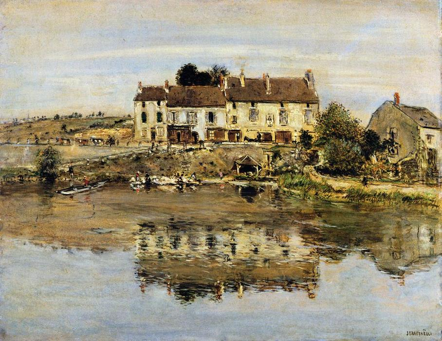Small Houses on the Banks of the Oise, 1912 by Jean-François Raffaelli (1850-1924, France) | Art Reproduction | ArtsDot.com