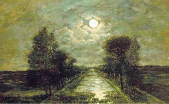 A canal under moonlight by Johan Barthold Jongkind (1819-1891, Netherlands)