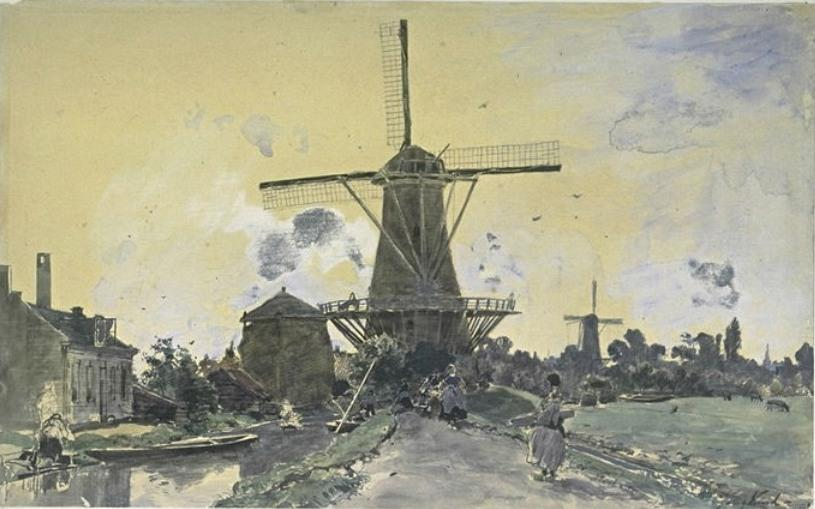 A mill surrounded by houses by Johan Barthold Jongkind (1819-1891, Netherlands)
