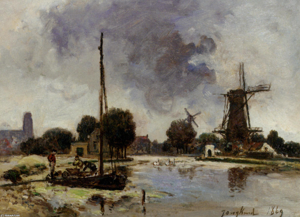 A Sailboat Moored on the Bank of a Stream by Johan Barthold Jongkind (1819-1891, Netherlands)