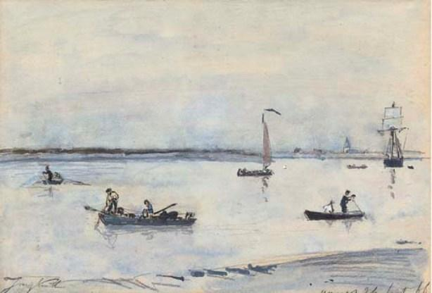 Order Painting Copy : Boats on an estuary, Antwerp by Johan Barthold Jongkind (1819-1891, Netherlands) | ArtsDot.com
