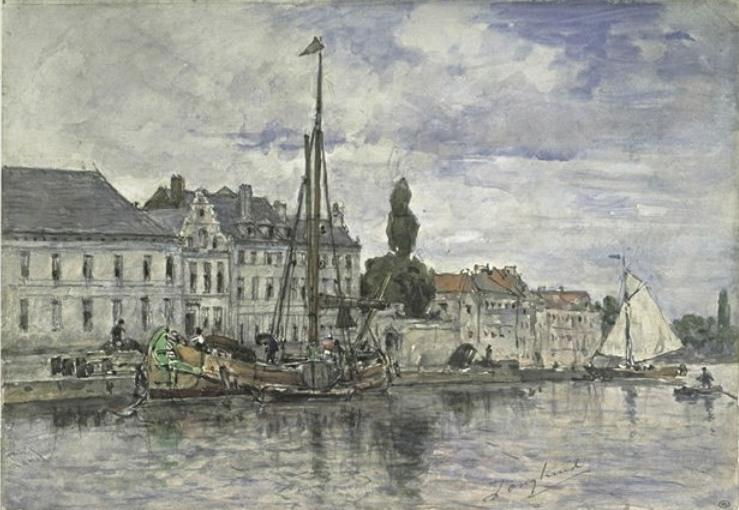Canal in Bruxelles by Johan Barthold Jongkind (1819-1891, Netherlands)