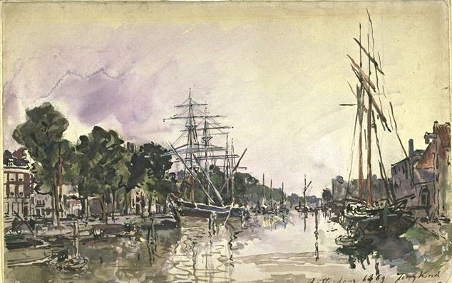 Canal in Rotterdam by Johan Barthold Jongkind (1819-1891, Netherlands)