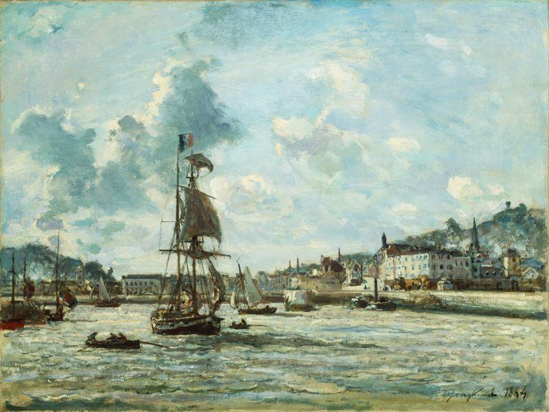 Entrance to the Port of Honfleur by Johan Barthold Jongkind (1819-1891, Netherlands)